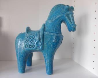 Bitossi Aldo Londi XL Blue Horse Italy 1960