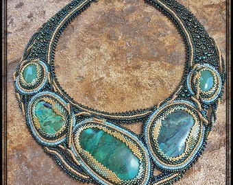 Serpent seed bead embroidered textured necklace with magnesite, jade and turquoise stones Beadwork necklace with natural stones