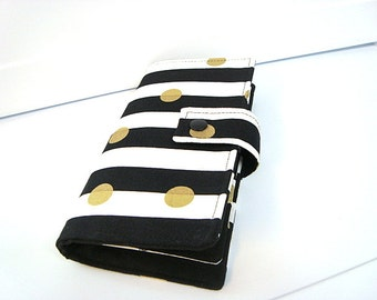 12 - 38 Slot Card Loyalty Card Organizer, Business Card Holder  Credit Card Wallet  Black and White Stripes with Gold Dots