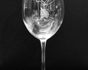 """Hand Engraved Custom Decorated Personalised Tinkerbell """"Tink"""" Large Wine Glass, HiBall Tumbler, Mixer Glass Gift"""