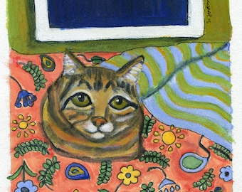 "Cat art card, ""Night time"", brown tabby cat at night, blank greeting card"