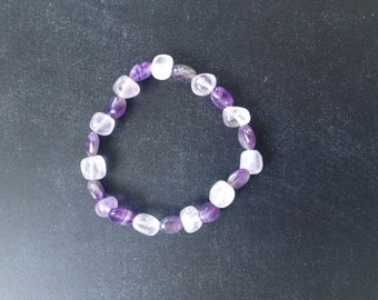 Amethyst Bead & Nugget Anti-Stress Centering Stackable Stretch Bracelet•Anti-Anixiety•Calming•Healing Crystals•Natural Stone•Yoga•Meditation