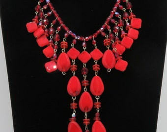 Vintage Bib Necklace Czech Red Glass Stones