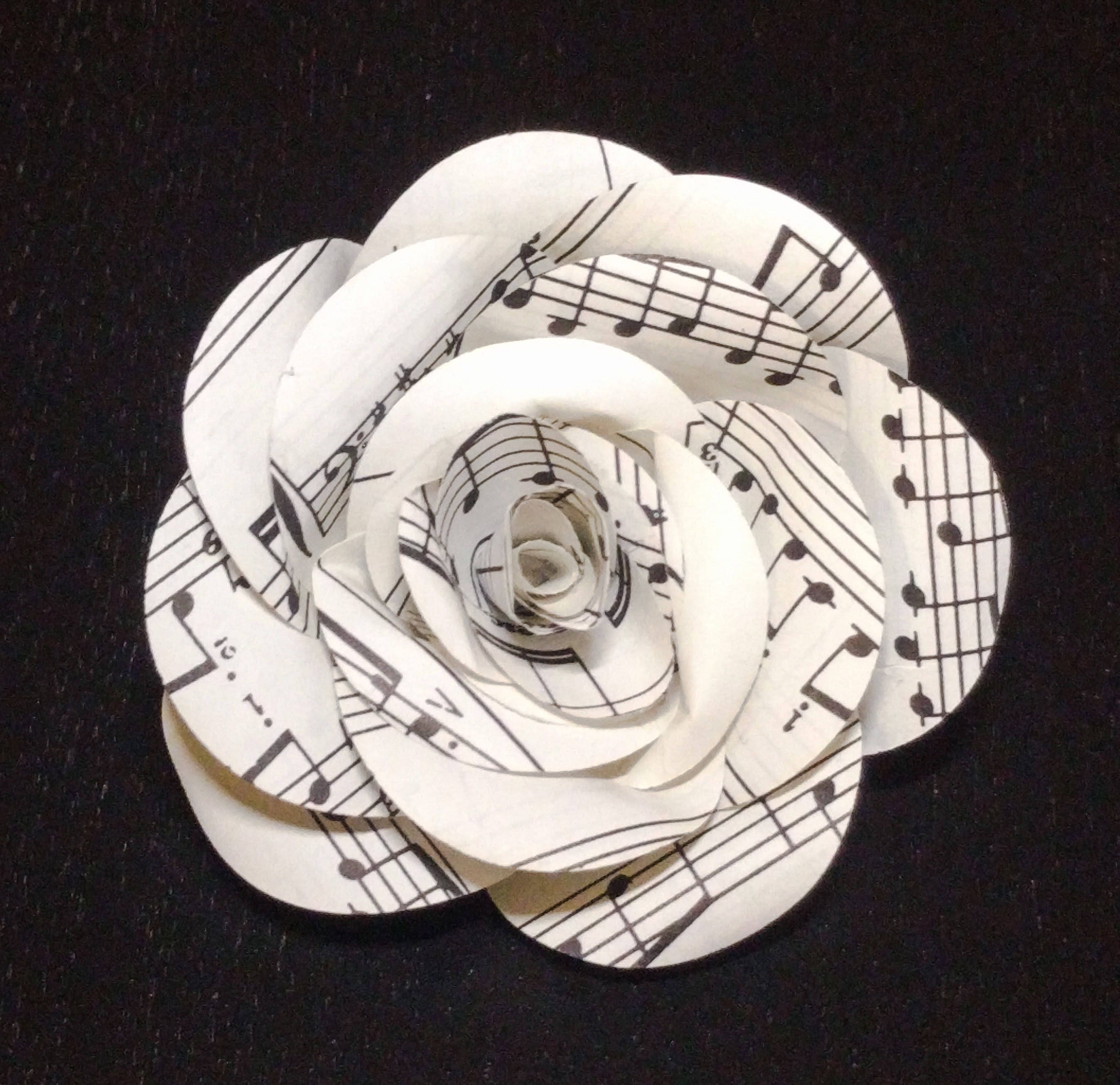Set Of 6 Vintage Music Sheet Curled Roses Handmade Paper Flowers 3