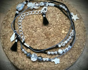 Bracelet triple row Crystal beads and silver plated charms