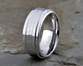 Cobalt Wedding Band, Mens Wedding Band, Mens Ring, Custom Made ,Rings, Bands, Hammered, 9mm ,Brushed, Size, Anniversary