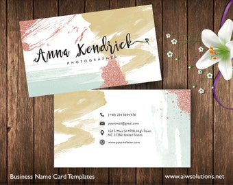 Business cards printable name card template diy business business cards printable name card template photography name card calling cards diy business cards easy to edit and print at home wajeb Image collections