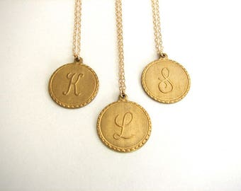 Personalized Gold Initial Necklace, Raw Brass Letter Pendant, Initial Letter Disc, Initial Pendant Necklace, Bridesmaid Gift Gold Fill Chain