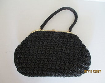 "Vintage 1960's ""GARAY"" Straw Handbag/Purse Black EUC"