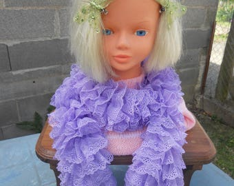 ruffle or simple summer scarf lace scarf lilac color