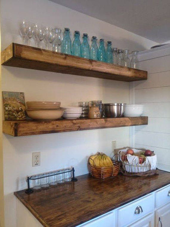 Wood Floating Shelves 2 Inches Thick Rustic Shelf