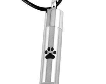Cremation Jewelry/Paw Print Cylinder Pet Cremation Pendant-Urn Necklace-Memorial Jewelry- Necklace for Ashes-Keepsake Jewelry