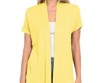 Short Sleeve Open Front Vest Banana