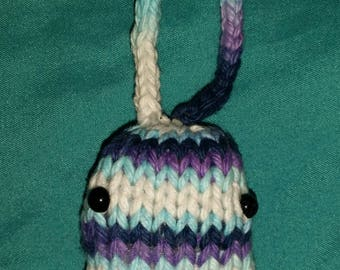 Hand-Knit Blue and Purple Stuffed Catnip Bunny Cat Toy