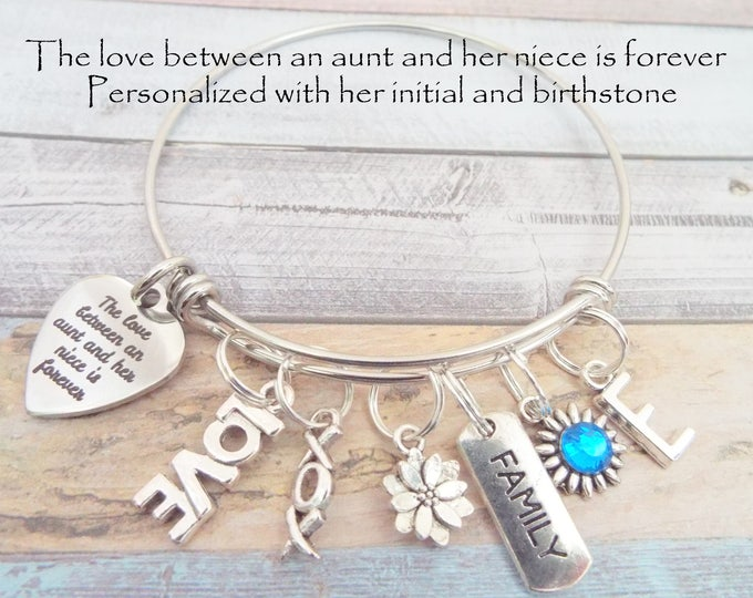 Birthday Gift for Niece, Aunt to Niece Gift, Personalized Gift for Her, Niece Charm Bracelet, Gift to Niece from Aunt, Niece Jewelry
