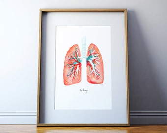 Lungs Art Print - Lung Watercolor