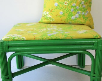 Refurbished Vintage Mid Century Footstool and Pillow Cover - Greenery - Vintage Waverly Fabric - Painted Rattan - Green Footstool Upcycled