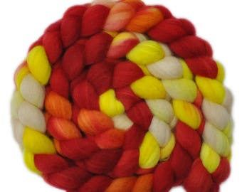 Hand painted roving - Superwash Blue Faced Leicester (BFL) / Nylon 80/20% wool top spinning fiber - 5.0 ounces - Head Start 1