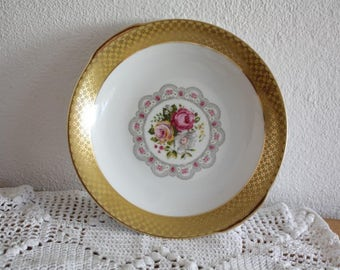 Winterling side plate with roses and gold trim, vintage plate, porcelain plate , french country