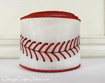 "Wired Ribbon,  2 1/2"" wide,  Baseball Sports Print - TEN YARD ROLL -  ""Play Ball""  Spring Sports Base Ball Craft Wire Edged Ribbon"