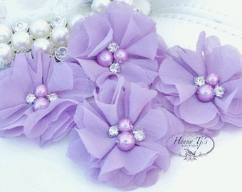 NEW: 4 pcs Aubrey PALE LAVENDER - Soft Chiffon with pearls and rhinestones Mesh Layered Small Fabric Flowers, Hair accessories