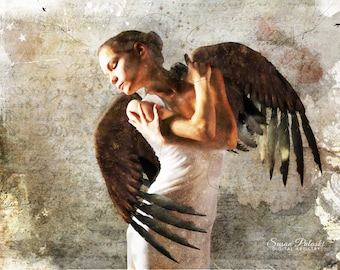 Winged Dancer original artwork printed on canvas/Fantasy art/