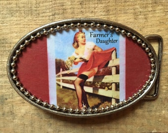 FARMER'S DAUGHTER Pin-Up Pin Up Burlesque Rockabilly Girl Belt Buckle w/ Silver Bead Detail. Handmade w/ metal buckle and one-of-a-kind!!!