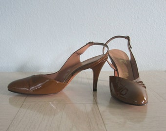 60s Patent Slingbacks - Vintage Bronze Patent Leather Sling Backs by Norman Kaplan - Flirty 60s Brown Leather Heels - Vintage 1960s Shoes 8