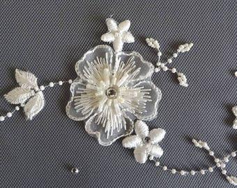 Beaded Wedding Veil, Embroidered Veil,  Bridal Veil,  Fingertip Veil, Ivory Veil, Pencil Edge Veil, Floral Vine Veil, Beaded Veil, 3-D Lace