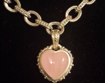 Judith Ripka Sterling Silver .925 Necklace With Heart Pendant