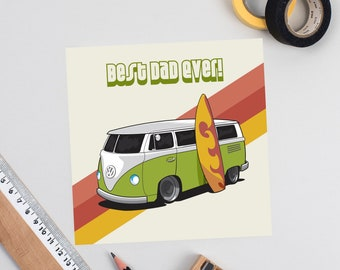 Father's Day Volkswagen Camper Card 2 colours