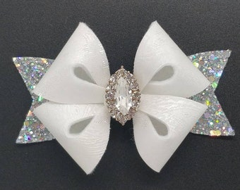 Gorgeous white Jacquard hair bow clip