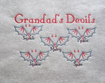 Personalized Embroidered Grandparent Shirt - Grandad's Devils Crew Neck Sweatshirt - Plus Size Embroidered Shirt - Grandkids Names Added