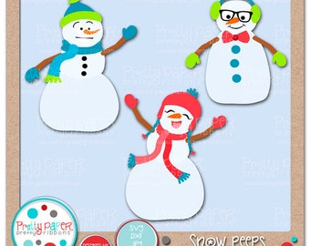 Snow Peeps Cutting Files & Clip Art - Instant Download