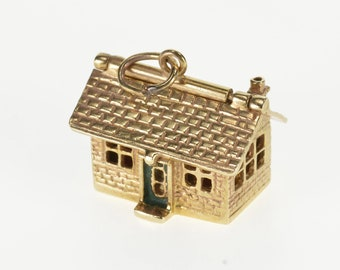 14K 3D Articulated House Enamel Accent Home Charm/Pendant Yellow Gold