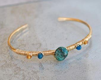 Bracelet Chrysocolla apatite Spessartite - hammered Gold filled 14K - gift her-gemstone bracelet blue Bangle - Chrisin Piedra