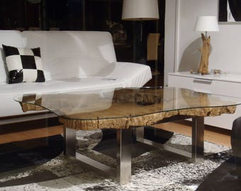 Tree trunk coffee table and glass top