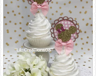 12 Minnie Inspired Cupcakes Topper