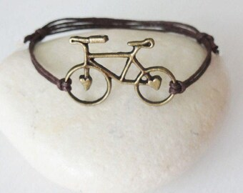 Bicycle Bracelet or Anklet, Cycle Bracelet, Bike Rider Gift, Racing Bracelet, Marathon Jewelry (Available In Antique Brass or Silver)