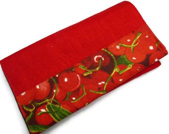 Red checkbook cover: fabric cherries / Gourmand / opening at the top / size 20 x 11 cm
