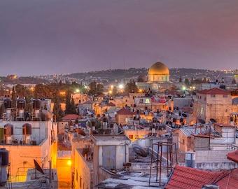 Jerusalem Old City, Israel Photography, Jerusalem, Dusk, Old City, Jerusalem Art, Holy City, Rust Colors, Fine Art Photography
