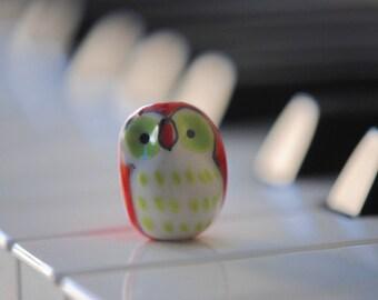 4 Porcelain Owl Beads | Ceramic Owl Charms | Hand Painted Porcelain Ceramic | Animal Beads | Bird Beads | 20mm Beads, 14mm | Barn Owl Beads