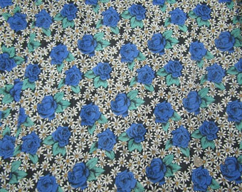 4 yards vintage polyester fabric bright flowers