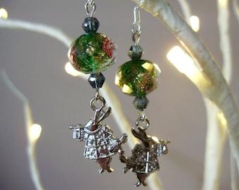 Alice earrings, Alice in wonderland, rabbit earrings, fantasy earrings, Alice jewelry, rabbit bead earrings, Bunny earrings, flower earrings