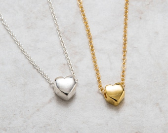 Heart Necklace Silver Gold , Valentine's Gift , Tiny Floating Heart Charm Necklace , Bridesmaid Gift , 925 Sterling Silver