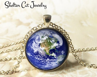 "Earth Necklace - 1-1/4"" Circle Pendant or Key Ring - Wearable Art Photo - Celestial, Galaxy, Solar System, Space, Universe, Planet, Gift"