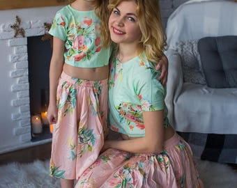 Baby Mommy Matching Skirt Top set, Mom and Me skirts, Floral pattern, Twinning, Mommy baby matching skirts