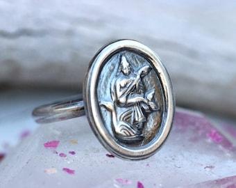 Saraswati Ring Saraswati Jewelry Goddess Ring Hindu Ring Yoga Ring Yoga Jewelry Hindu Jewelry Hindu Goddess Sterling Silver Ring Silver Ring