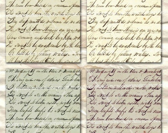 Antique Handwriting Backgrounds in Four Colourways Postcard Size Decoupage Old Paper Digital Collage Sheet Instant Printable Download 074