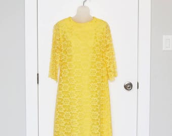 1960s sunny yellow lace 1960s dress with three quarter bell sleeves